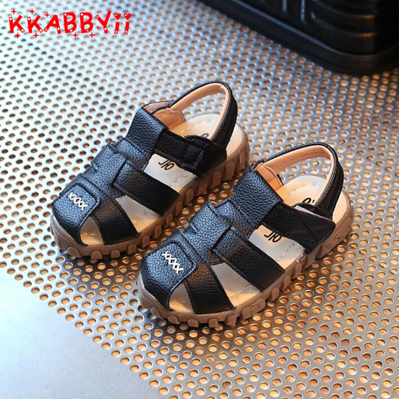 2018 New Spring Summer Shoes Boys Soft Leather Sandals Baby Boys Summer Prewalker Soft Sole Genuine Leather Beach Sandals ...