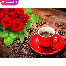 MomoArt Diamond Painting Flowers Embridery Coffee Full Square Rhinestone Mosaic Home Decoration
