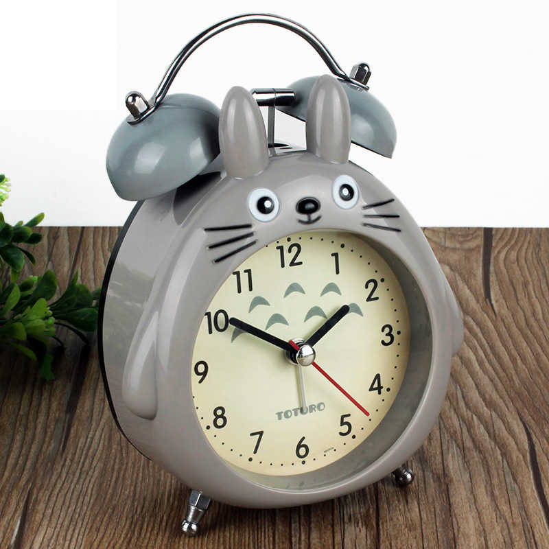 Милый домашний декор Тоторо кварцевые настольные часы для спальни Будильник Повтор Покемон светодиодный светильник немой будильник