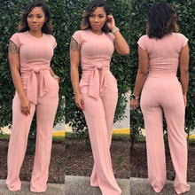 2019 New Women Knitted Short Sleeve Tie Up Tops Straight Long Pants Suits Solid Vintage Tracksuit Outfit Two Piece Sets