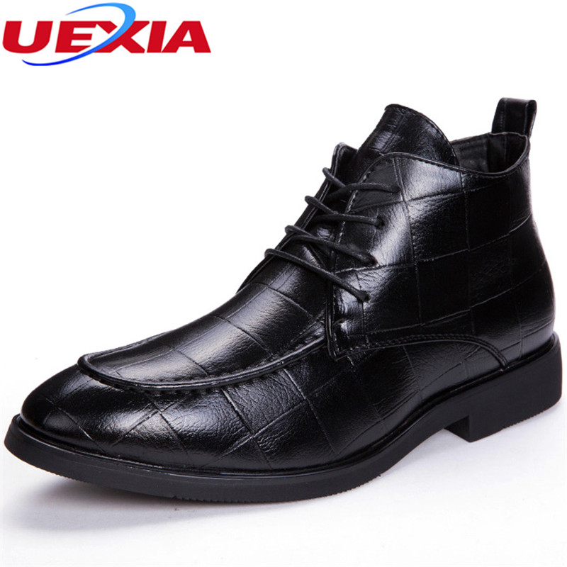 UEXIA Pointed Toe Microfiber Formal Business Dress High Top Crocodile Pattern Oxfords Boots For Men Designer Luxury Men Shoes mycolen 2018 high quality business dress men shoes luxury designer crocodile pattern formal classic office wedding oxfords