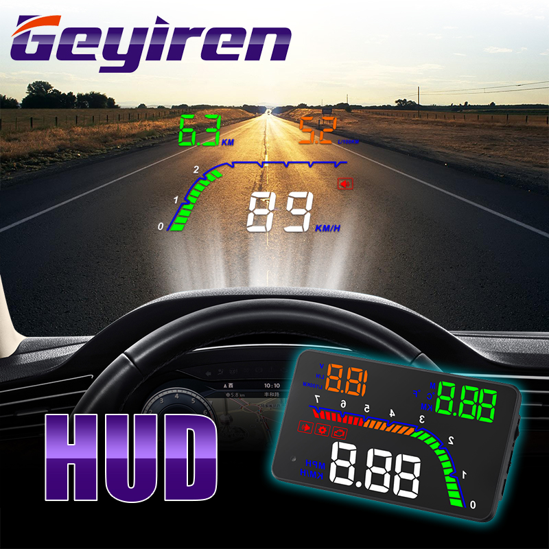 GEYUREN A100s T100 OBD Car Hud Head Up Head Up Display 2019 Temperature Gauge Obd Overspeed Warning System Projector Windshield