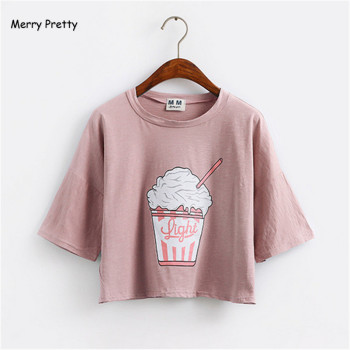 Merry Pretty summer new women t shirt ice cream Korean style cotton loose crop top kawaii t-shirt female funny tee tops