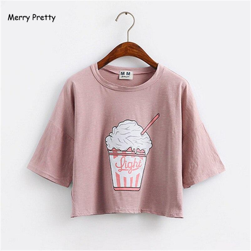 Buon Piuttosto estate 2017 new Harajuku donne t shirt gelato stile coreano del cotone allentato crop tops kawaii t-shirt donna t top
