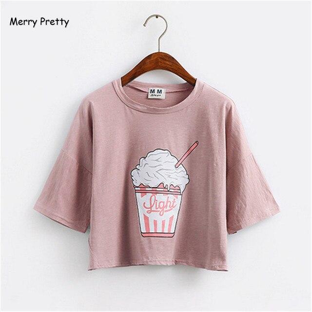 Feliz Bonita 2018 verão novas mulheres Harajuku camiseta sorvete kawaii estilo Coreano algodão topos colheita soltos t-shirt feminina tee tops