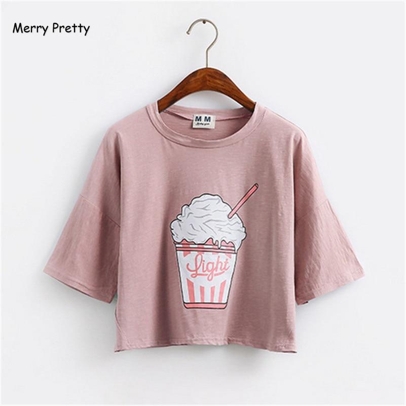 Frohe Ziemlich 2018 sommer neue Harajuku frauen t shirt eis Koreanischen stil baumwolle lose crop tops kawaii t-shirt weibliche t tops