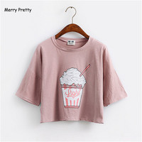 Merry Pretty 2017 Summer New Harajuku Women T Shirt Ice Cream Korean Style Cotton Loose Crop