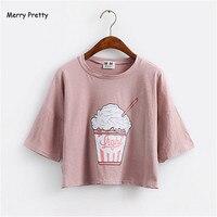 Merry довольно летом 2018 Новый Harajuku женские футболка Мороженое в Корейском стиле хлопковые свободные топы Футболка Kawaii Тройник топы