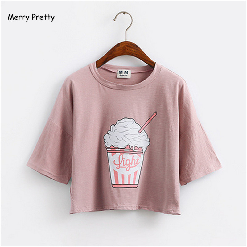 เมอร์รี่สวย 2018 ฤดูร้อนใหม่ฮาราจูกุผู้หญิงเสื้อยืดไอศครีมสไตล์เกาหลีผ้าฝ้ายหลวมท็อปส์พืช kawaii เสื้อยืดหญิง tee ท็อปส์
