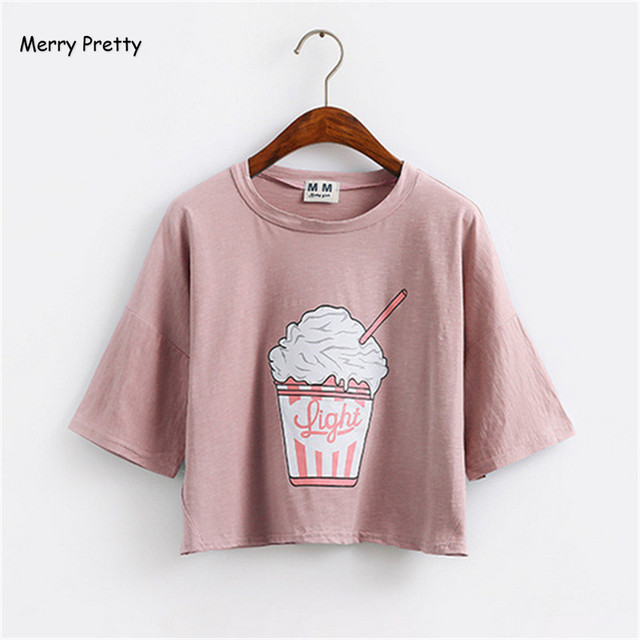 Merry Pretty summer new Harajuku women t shirt ice cream Korean style cotton loose crop top kawaii t-shirt female funny tee tops