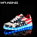 Марка Мужчины фонарь высокий Верх Обувь Буле КРАСНЫЙ 7 Цвета светящиеся обувь СВЕТОДИОДНЫЕ светящиеся обуви мужской USB аккумуляторная легкие ботинки DD-64