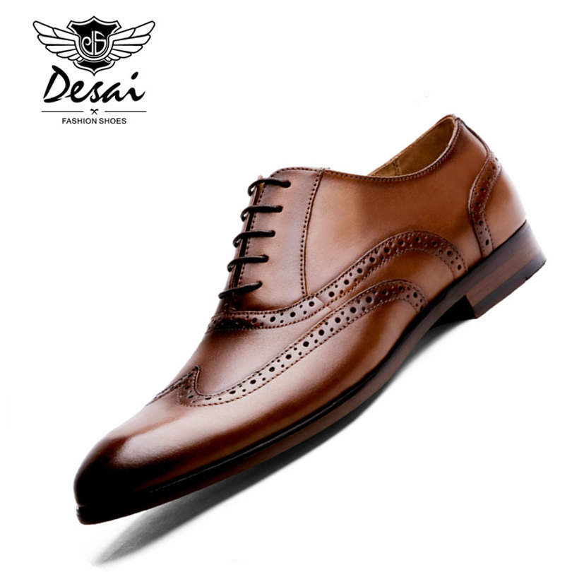 DESAI Brand Full Grain Leather Men Oxford Shoes British Style Retro Carved Bullock Formal Men Dress Shoes Size 38-43