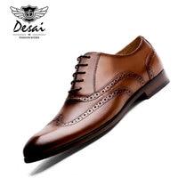 DESAI Brand Full Grain Leather Men Oxford Shoes British Style Retro Carved Bullock Formal Men Dress