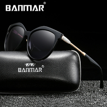 BANMAR New Luxury Polarized Women Sunglasses Fashion Round Ladies Vintage Brand Design Cat Eye Woman Female Sun Glasses Oculos