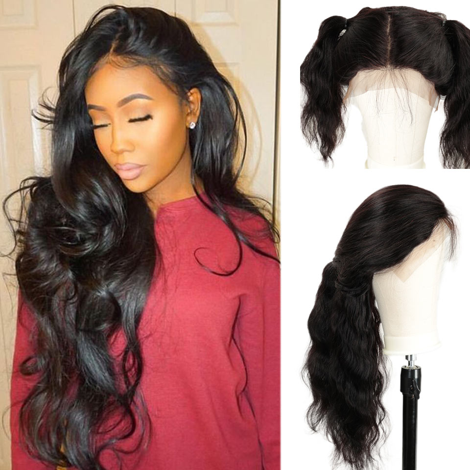Rebecca Short Lace Frontal Wigs Pre Plucked With Baby Hair Brazilian Body Wave Human Hair 845 Gram Lace Front Wig Free Shipping