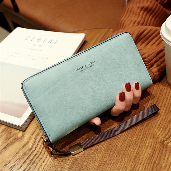 Женский кошелек, сумка для мобильного телефона, фирменный дизайн, Женский кошелек из искусственной кожи, длинные женские кошельки и кошельки, женский тонкий держатель для карт, кошелек - Цвет: blue