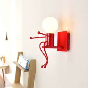 Image 1 - LED קיר אור קטן ברזל איש רכוב על קיר אור E27 בסיס Creative ילדים תינוק חדר שינה מסדרון קיר לילה אור ללא הנורה #