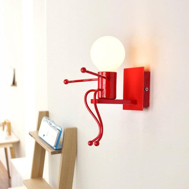 LED קיר אור קטן ברזל איש רכוב על קיר אור E27 בסיס Creative ילדים תינוק חדר שינה מסדרון קיר לילה אור ללא הנורה #