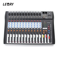 LEORY 12 Channel Karaoke Audio Mixer Professional Microphone Amplifier Sound Console Mixing With USB 48V Phantom Power