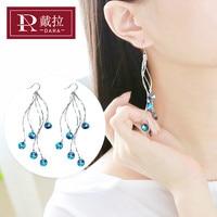 DARA New Women Fashion Long Chain Crystal Drop Earrings All Match Elegant Earrings For Wedding Jewelry