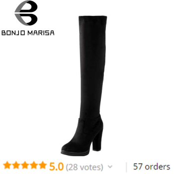 BONJOMARISA Hot Sale Large Size 32-43 Autumn Winter Over Knee Thigh High Platform Boots Women Black High Heels Shoes Woman