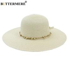 BUTTERMERE Women Summer Hat Wide Brim 11cm Ladies Sun Hats Milk White Dome Beads Decoration Fashion Anti-UV Beach Female