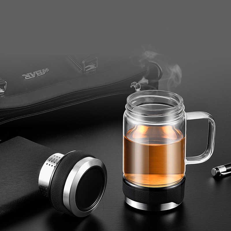 350 ML de Parede Dupla Garrafa Térmica De Chá de Vidro com Filtro e Hanlde Escritório Beber Copo De Isolamento Xícara de Água Presente do Homem de Negócios garrafa