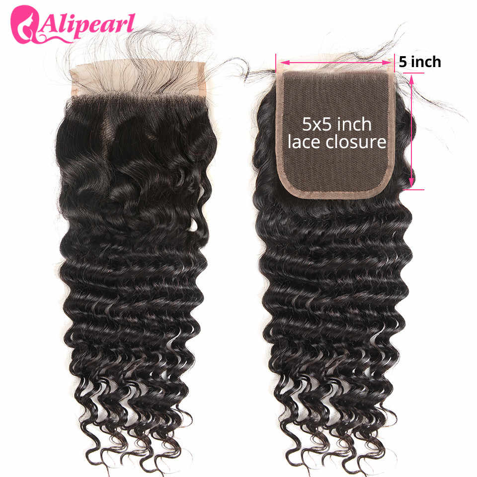 AliPearl Hair 5X5 Deep Wave Lace Closure Free Part With Baby Hair Swiss Lace Brazilian Human Hair Remy Hair Natural Color 8-20''