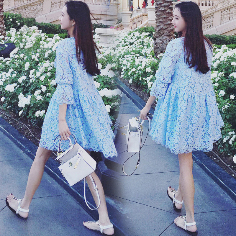 2018 spring Cute fashion moms maternity dress tops lace three quarter sleeve pregnancy loose fit mini dress for pregnant women