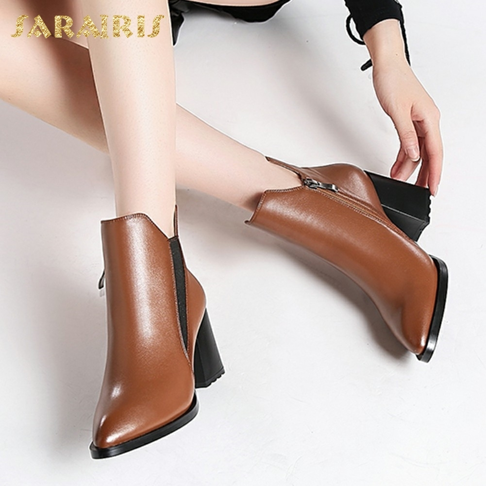 SARAIRIS New Cow Leather Plus Size 34-42 Square Heels Boots Woman Elastic Band Pointed Toe Shoes Woman Ankle BootsSARAIRIS New Cow Leather Plus Size 34-42 Square Heels Boots Woman Elastic Band Pointed Toe Shoes Woman Ankle Boots