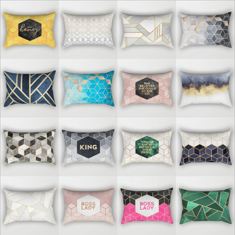 TOX Drop Ship Soft Velvet Geometric Cushion Cover 30x50cm Marble Pillow Cover Bedroom Sofa Decoration Pillow Cases