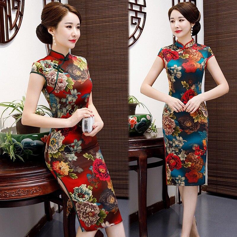 Summer Women Printed Flower Cheongsam Traditional Chinese Female Slim High Split Evening Dress Sexy Satin Short Sleeve Qipao