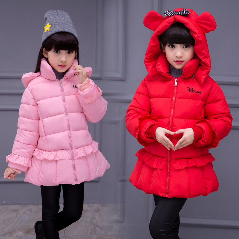 ФОТО Girls Clothing Wadded Jacket Outerwear Baby Winter Clothes Children's Clothing Winter Cotton-Padded Jacket Medium-Long Down Coat