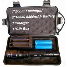 8000 Lumens Lanterna CREE XM-L T6 LED Zoomable Foco Tocha Luz do Flash Lanterna Tática Luz Acampamento Ao Ar Livre Da Lâmpada de Iluminação