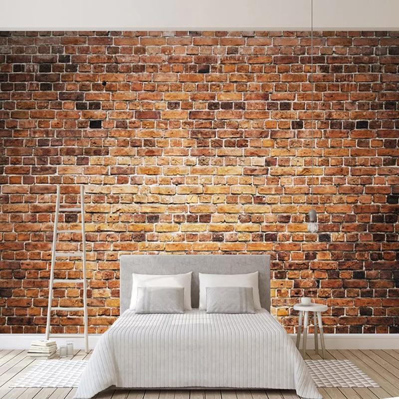 Custom 3D Photo Wallpaper For Bedroom Walls Retro Red Brick Wall Mural 3D Wall Paper Rolls Living Room Sofa TV Background Decor