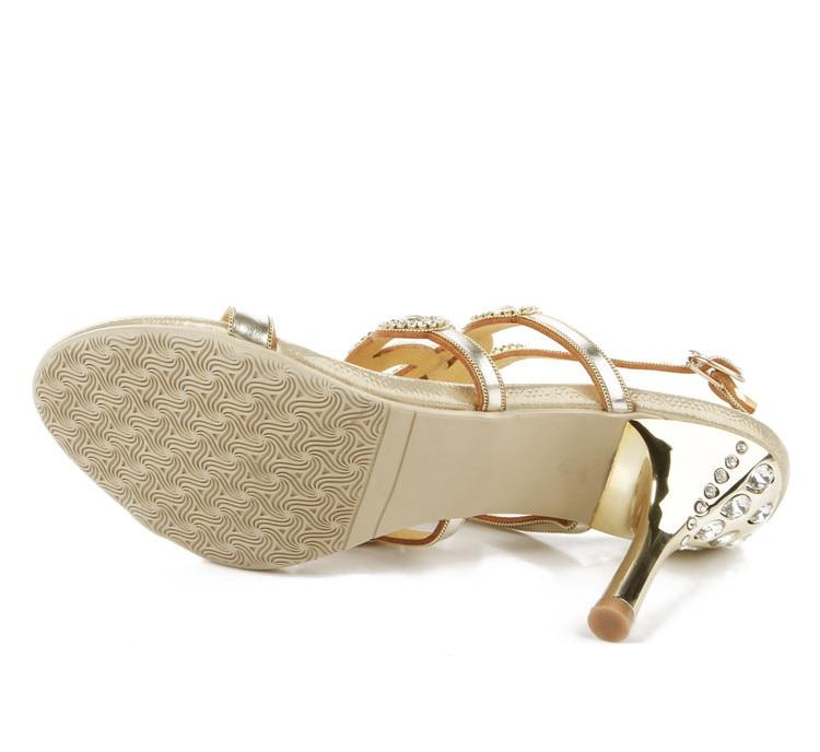 3725811e80a8 ... 2016 Bohemian National Gold Casual Rhinestone Wedding Sandals Size 11  Elegant High Heels Women Shoes For