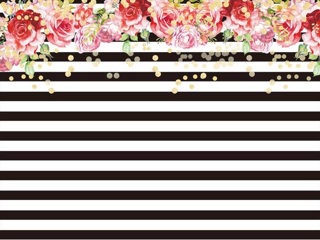 kidniu flowers background studio props black white stripes vinyl