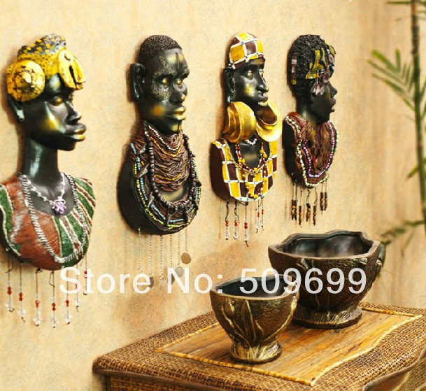 Fashion African exotic resin painted portraits Wall Decoration/wall ...