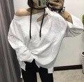 [Soonyour] 2017 primavera coreano nova personalidade selvagem solto branco longo-manga comprida t-shirt moda feminina a00700