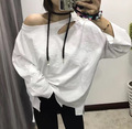 [soonyour] 2017 spring Korean new wild personality loose white long-sleeved fashion T-shirt female A00700
