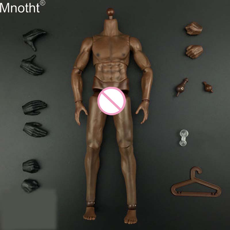Mnotht 1/6 High Quality Strong Body Dark brown/yellow Skin Flexible Muscle Male Body Model for 12in Toy Soldier Action Figure me 1 6 scale male action figure model toys super flexible seamless muscle body pl2016 m33 for collections