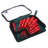 9 In 1 Electricians Grade Insulated Screwdriver Kit PP Coated Anti Shock Red Handled Magnetic Head