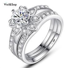 цена Eleple Flowers Wedding ring Sets Euramerica Anniversary Rings For women fashion Jewelry White Gold color Best Lover Gift VSR231 онлайн в 2017 году