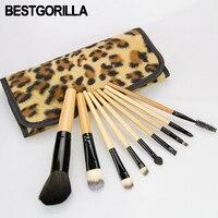 Professionelle 9 teile/satz Gelb weiß leoparden make-up pinsel Schönheit tools make-up pinsel Sets Zylinder Gradienten augenbrauen pinsel