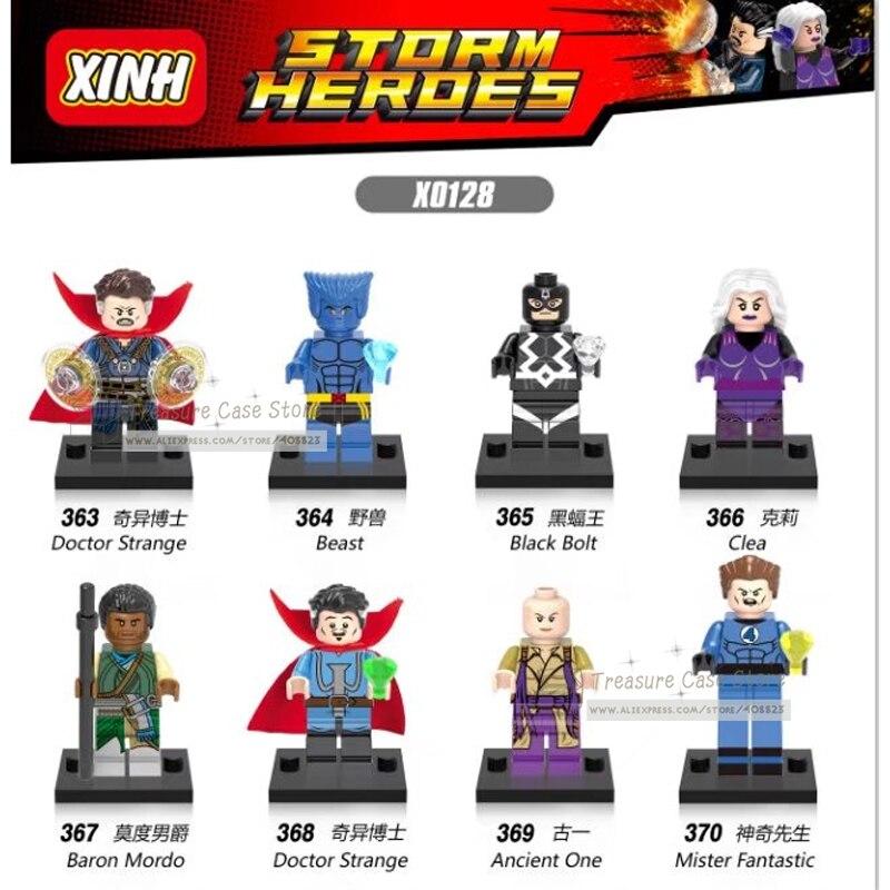 NO.363-370 Doctor Strange Beast Black Bolt Clea Baron Mordo Ancient One Mister Fantastic figure Super Hero Building Toys Blocks