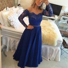 Beautiful Long Sleeve A Line Satin Evening Dress Lace Pearl Beading Floor Length Long Women Dress Evenig Wear