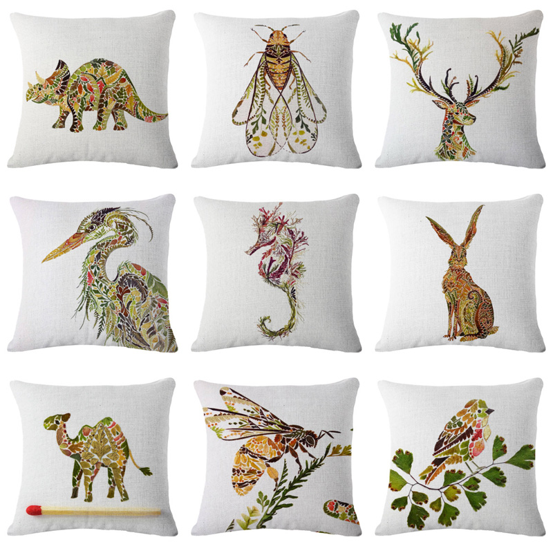 2018 Painted Flowers Animal Cushion Cover Linen Cotton Triceratops Deer Bird Home Decorative Pillow for Sofa Car Cojines