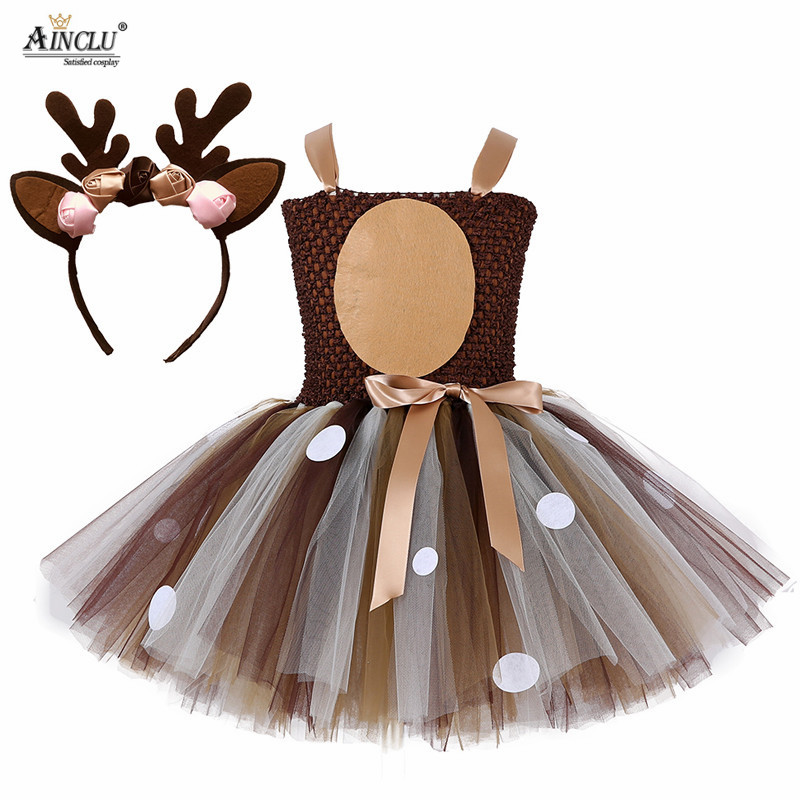 Kids Christmas Deer Tutu Dress Baby Girls Birthday Party Dresses Happy Purim Halloween Winter Fawn Cosplay Costume Clothes Suit