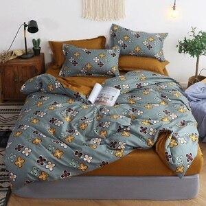 Image 4 - Mylb 침구 세트 블루 유로 침대보 럭셔리 듀벳 커버 더블 침대 시트 리넨 퀸 킹 성인 침구