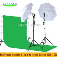 33 мягкий зонтик E27 держатель лампы 150 W 5500 K лампа 2 м свет стенд 2 шт 3*6 М Зеленый Муслин Фон 2,6*3 м фон комплект для обслуживания